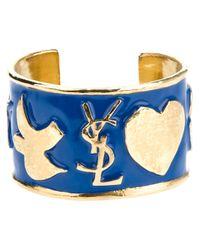 Saint Laurent | Blue Ycons Cuff Bracelet | Lyst