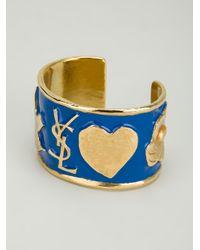 Saint Laurent - Blue Ycons Cuff Bracelet - Lyst