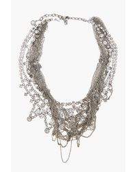 Tom Binns Metallic Silver Tangled Chain Fettered Faux Necklace