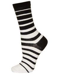 TOPSHOP White Monochrome Stripe Ankle Socks