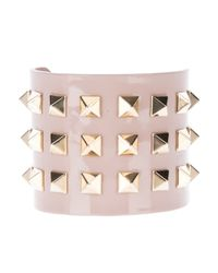 Valentino - Natural Studded Cuff - Lyst