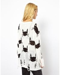 Wildfox White Cat Face Lennon Sweater