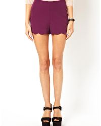 ASOS - Purple Asos Shorts with Scallop Hem - Lyst