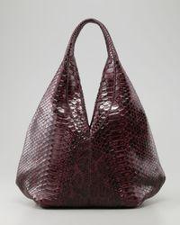 VBH Purple Napsack Python Hobo Bag Wine