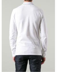 Burberry White Long Sleeve Polo Shirt for men