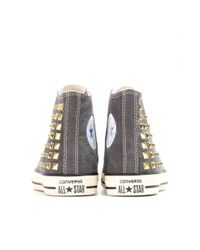 Converse Gray Collar Studded Hightop Sneakers