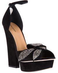 DSquared² Black Calf Leather Embellished Sandal
