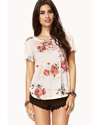 Forever 21 - Pink Rose Print Tee - Lyst
