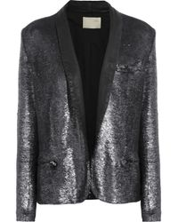 IRO Metallic Missy Leather-trimmed Sequined Jacket