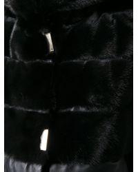Liska Black Mink Fur Trim Padded Coat