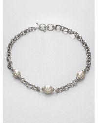 Majorica - Metallic 14mm-16mm White Baroque Pearl Station Necklace - Lyst