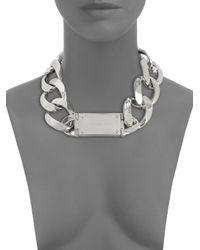 Michael Kors - Metallic Oversized Curb Chain Logo Necklacesilvertone - Lyst