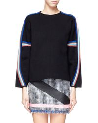 MSGM Black Rainbow Ribbed Structured Sweater