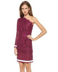 MSGM Purple One Shoulder Lace Dress