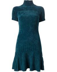 Pinko Green Ribbed High Neck Dress