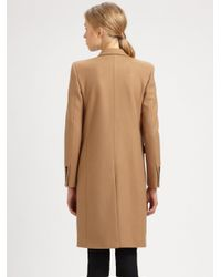 Saint Laurent Brown Double-Breasted Wool Coat