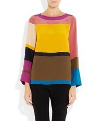 Sonia by Sonia Rykiel Multicolor Color-block Silk Top