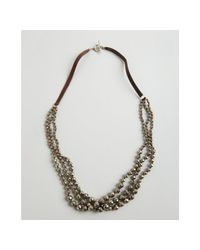 Chan Luu | Pyrite and Brown Leather Triple Strand Necklace | Lyst