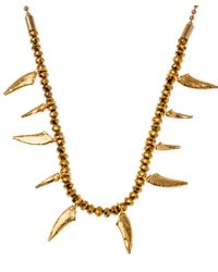 Iosselliani Metallic Fine Gold Abstract Tooth Necklace