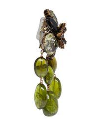 Iradj Moini Green Clipon Drop Earrings