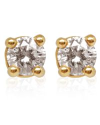 Kojis | Metallic Gold Diamond Stud Earrings | Lyst