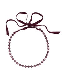 Lanvin Red Crystal Ribbon Necklace