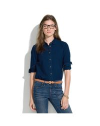 Madewell Blue Indigo Denim Collared Shirt
