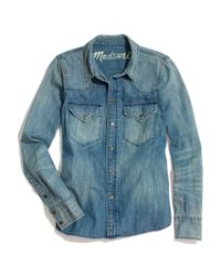Madewell Blue Western Jean Shirt in Pond Wash
