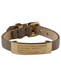 Marc By Marc Jacobs | Metallic Brown Standard Supply Leather ID Bracelet | Lyst