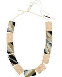 Marni Metallic Wood and Resin Necklace