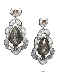 Nak Armstrong | Gray Rose Gold Tourmalated Quartz and Labradorite Earrings | Lyst