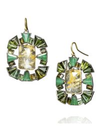 Nak Armstrong Green Yellow Gold Rutilated Quartz and Emerald Earrings