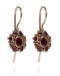 Ruth Tomlinson | Red Gold and Ruby Cluster Earrings | Lyst