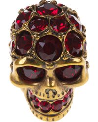 Alexander McQueen - Purple Ruby Embellished Skull Ring - Lyst
