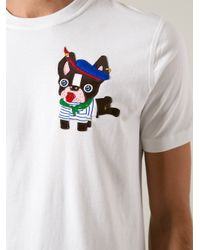 DSquared² White Dog Patch Tshirt for men