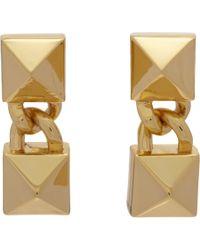 Fallon   Metallic Signature Double Pyramid Drop Earrings   Lyst