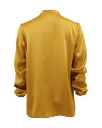 Lanvin Yellow Long Sleeve Split Neck Blouse with Tie