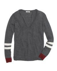 Madewell Gray Merino Vneck Sweater in Varsity Stripe