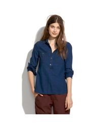 Madewell Blue Chambray Pindot Popover