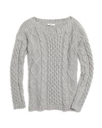 Madewell Gray Boatneck Cableknit Sweater