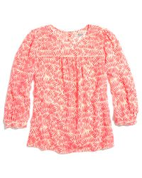 Madewell Pink Silk Peasant Blouse in Bamboo Leaf