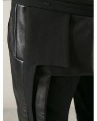 Rad Hourani Black Leather Panel Legging for men