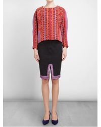 THU THU Black Patterned Embroidered Stretchdenim Skirt