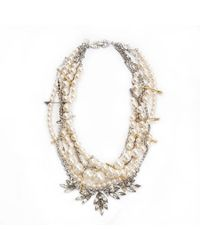 Tom Binns - Pink Pearl Crystal and Chain Necklace with Safety Pins - Lyst
