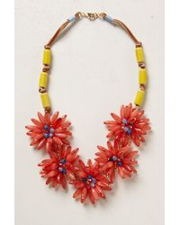 Anthropologie - Red Blossomed Garland Necklace - Lyst