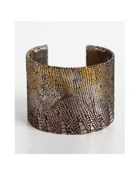 A.V. Max | Gold and Silver Metallic Python Embossed Leather Cuff | Lyst