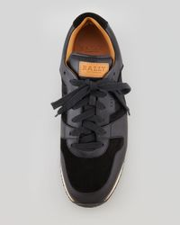 Bally | Black Suede Leather Stitchtrim Sneaker for Men | Lyst