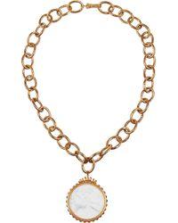 Bottega Veneta | White Gold-Plated, Porcelain And Glass Stone Necklace | Lyst