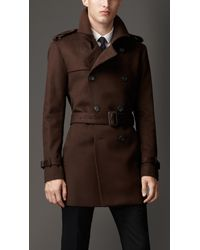 Burberry Brown Midlength Wool Cashmere Trench Coat for men