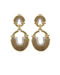 David Webb - Metallic Diamond Earrings - Lyst